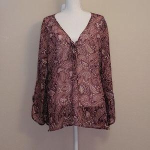 New York & CO sheer purple white blouse XL